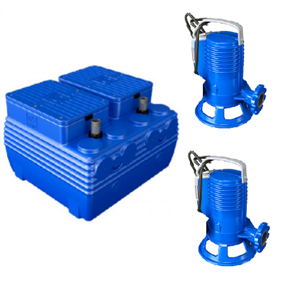Picture of ELETTROPOMPA TRITURATRICE DUE KW 0,74 GR BLUEPRO 100 VOLT 220 CON VASCA BLUEBOX 400 LITRI ZENIT